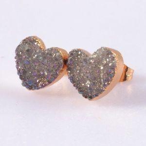 3/$20...Heart Shaped Agate Druzy Stud Earrings